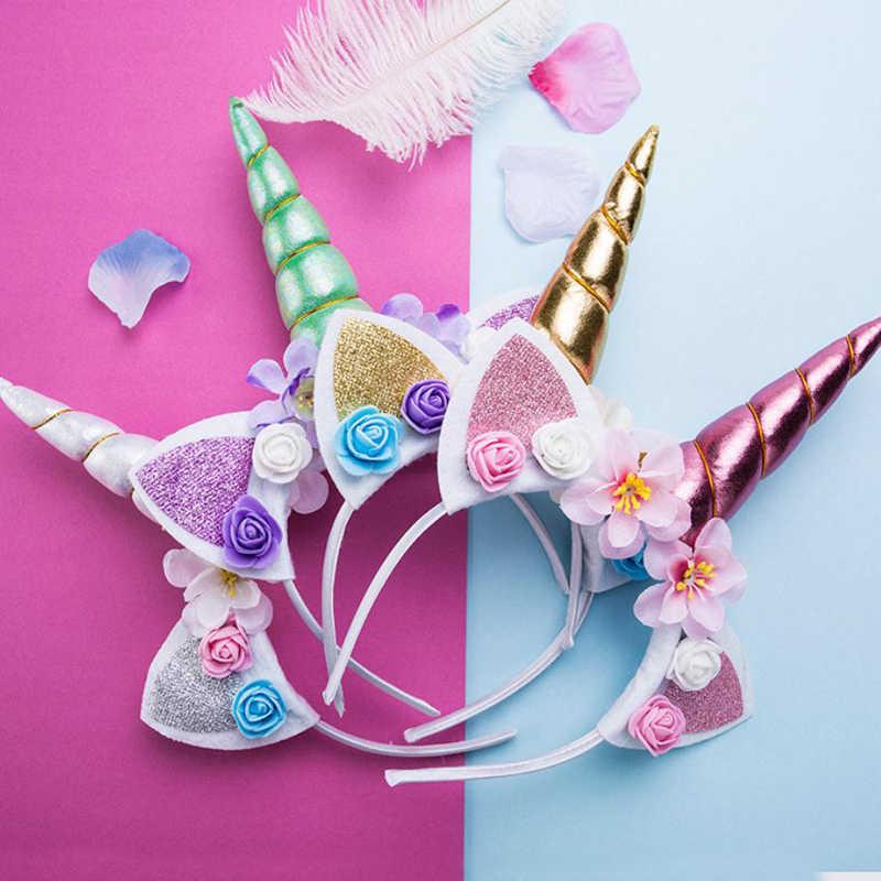 New Children Cartoon Headwear Unicorn Hairbands Animals Headbands Children Birthday Gift Cat Ear Headbands Hair Hoop Accessories