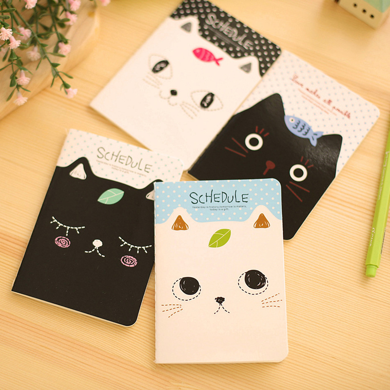 4pcs Mini Memo Note Book Cute Cat & Fish Notepad Portable Planner Agenda Check List To Do Stationery Office School F627