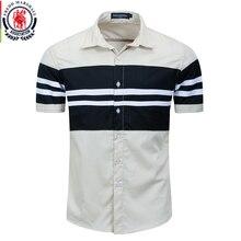 Fredd Marshall 2020 New Fashion Patchwork Shirt Men 100% Cotton Casual Short Sleeve Striped Shirt Homme Camisa Masculina 558932