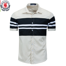 Fredd Marshall 2020 Nieuwe Mode Patchwork Mannen 100% Katoen Casual Korte Mouwen Gestreept Shirt Homme Camisa Masculina 558932