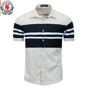 Image 1 - Fredd Marshall 2020 Thời Trang Mới Miếng Dán Cường Lực Áo Sơ Mi Nam 100% Cotton Ngắn Tay Áo Sơ Mi Sọc Homme Camisa Masculina 558932