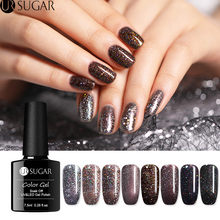 UR Gula 7.5 Ml Hologram Glitter Uv Gel Polandia Coklat Tua Payet Gel Lacquer Rendam Off Uv Gel Pernis Kuku seni Gel Lacquer LED(China)