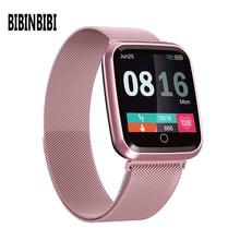 Reloj inteligente IP68 para mujer, resistente al agua, con monitor de ritmo cardíaco, dispositivos deportivos de Fitness, correa de regalo para ios y Android