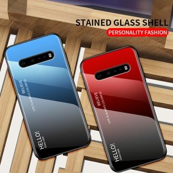 Перейти на Алиэкспресс и купить Чехол для телефона LG G9, чехол с роскошным градиентным закаленным стеклом, мягкая рамка из ТПУ, силиконовый ударопрочный чехол для LG G9 V60 G8 ThinQ ...