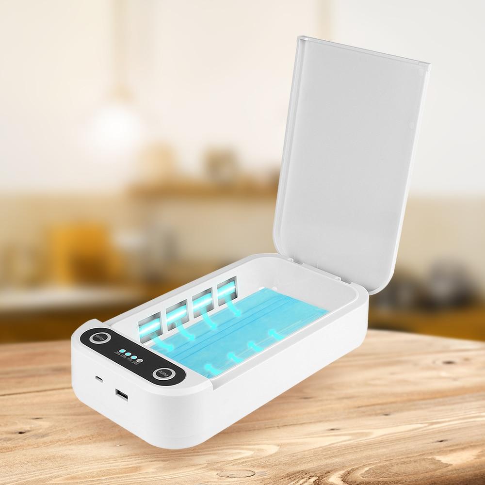 Boîte de stérilisateur UV Portable désinfectant UV stérilisateur Ultraviolet armoire de désinfection Facemask pour bijoux montre téléphone stérilisateur  