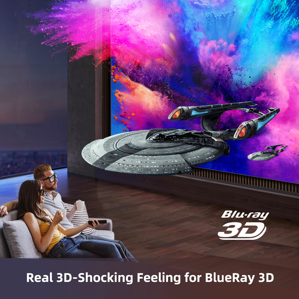 Byintek U50 Full HD 1080p mini 2k 3d 4k android Smart Wifi Projetor portátil laser Home Movie led dlp projetor beamer proyector-2