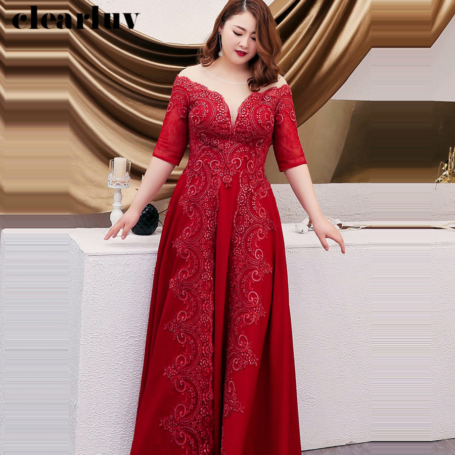 Evening Dresses Burgundy O-neck Crystal Women Party Dresses 2019 Plus Size Half-sleeve Robe De Soiree Formal Evening Gowns T103