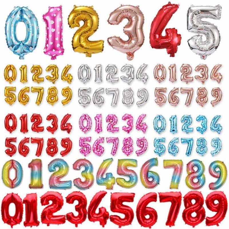 16 32 Cal rysunek numer cyfrowy z balonów foliowych dekoracje na imprezę urodzinową ślub złoty czerwony niebieski różowy nadmuchiwany balon helowy