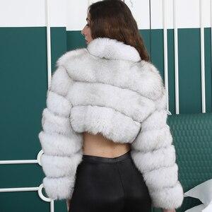 Image 3 - Natuurlijke Korte Echte Jas Voor Vrouwen Met Stand Kraag Dikke Warme Winter Echte Fox Fur Jacket Hoge Kwaliteit bont Overjassen