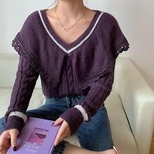 Демисезонный новый большой отворот свитер для женщин с v образной