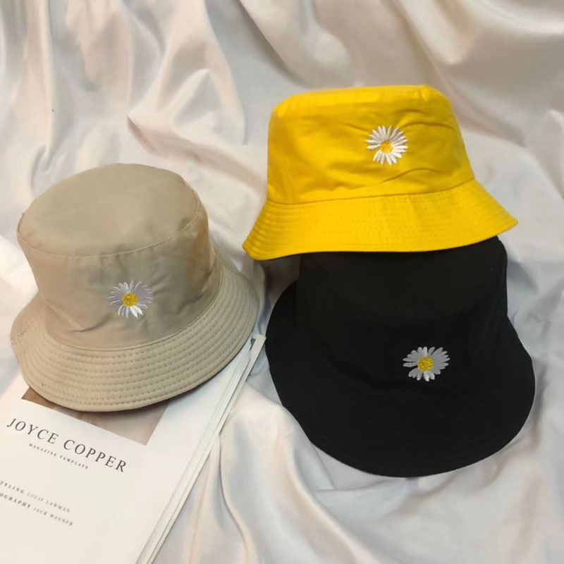 New Fashion Daisy Flower Hat Cap Men Women Hip Hop Panama Fisherman Hats Cotton Outdoor Casual Visor Fisherman's Hat