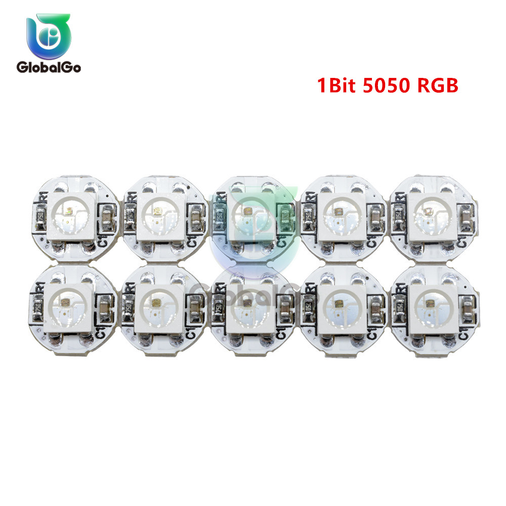 10pcs/Lot RGB LED Ring 1 Bit LED WS2812 WS2812B 5050 RGB LED Ring Lamp Light With Integrated Drivers Control LED Light Source