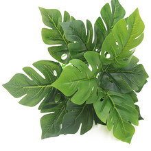 Wedding Party Simulation Supplies Artificial Leaves Green Plastic Fake Plants Handcraft Grass Garden Wall Nature Home Decoration(China)