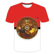 Film Detektif Pokemon Pikachu T Shirt 3D Santai Anak T-shirt Musim Panas Tshirts Fashion Anime Kartun Anak Kostum Kawaii Top(China)