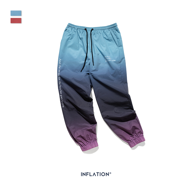 Image 5 - INFLATION 2019 FW Men Die Dye Cargo Pants Loose Fit Men Thin  Cargo Pants Elastic Waist Men Streetwear Tie Dye Pants 93420WHarem  Pants