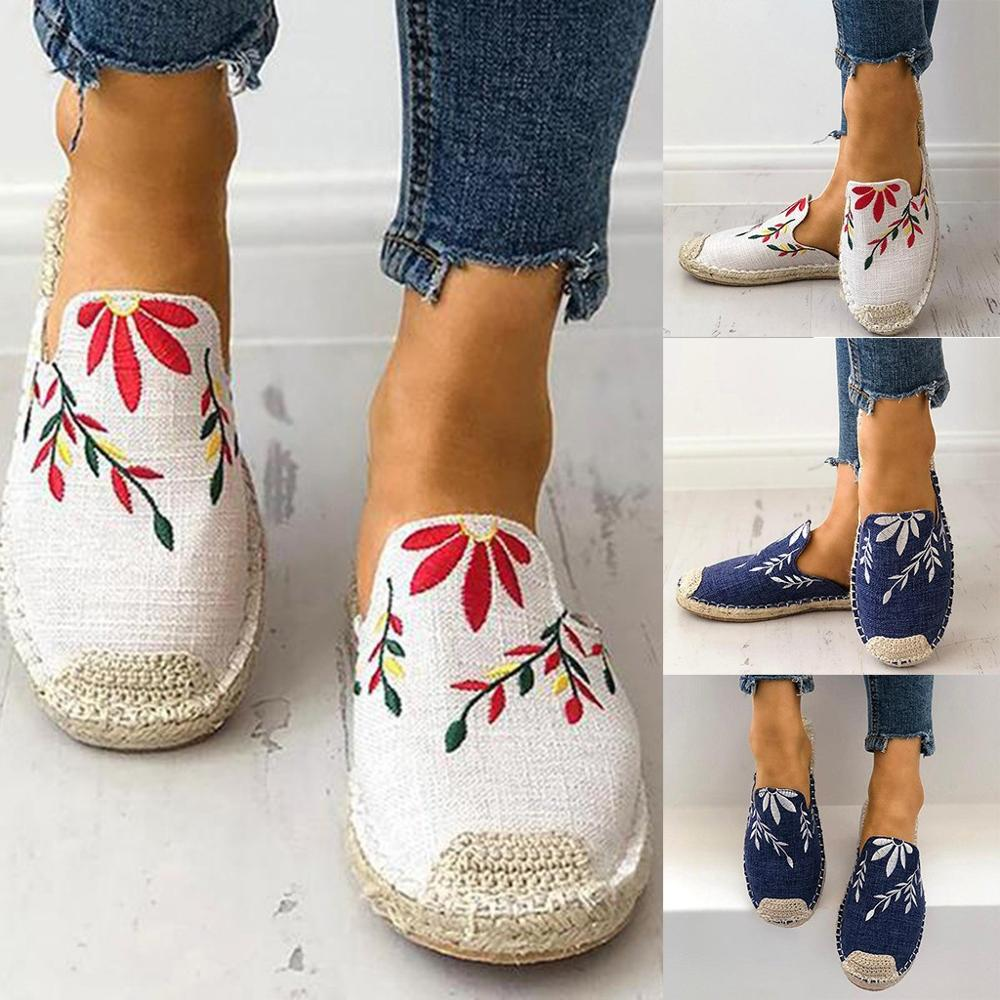Fashion Ethnic Flower Embroider Shoes
