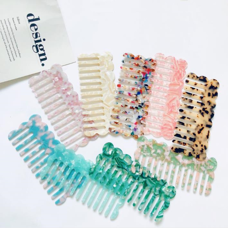 Korean Fashion Acetate  Anti-static Massage Hair Combs Colorful Hairdressing Comb Hair Brush For Women Girls Hair Styling Tool