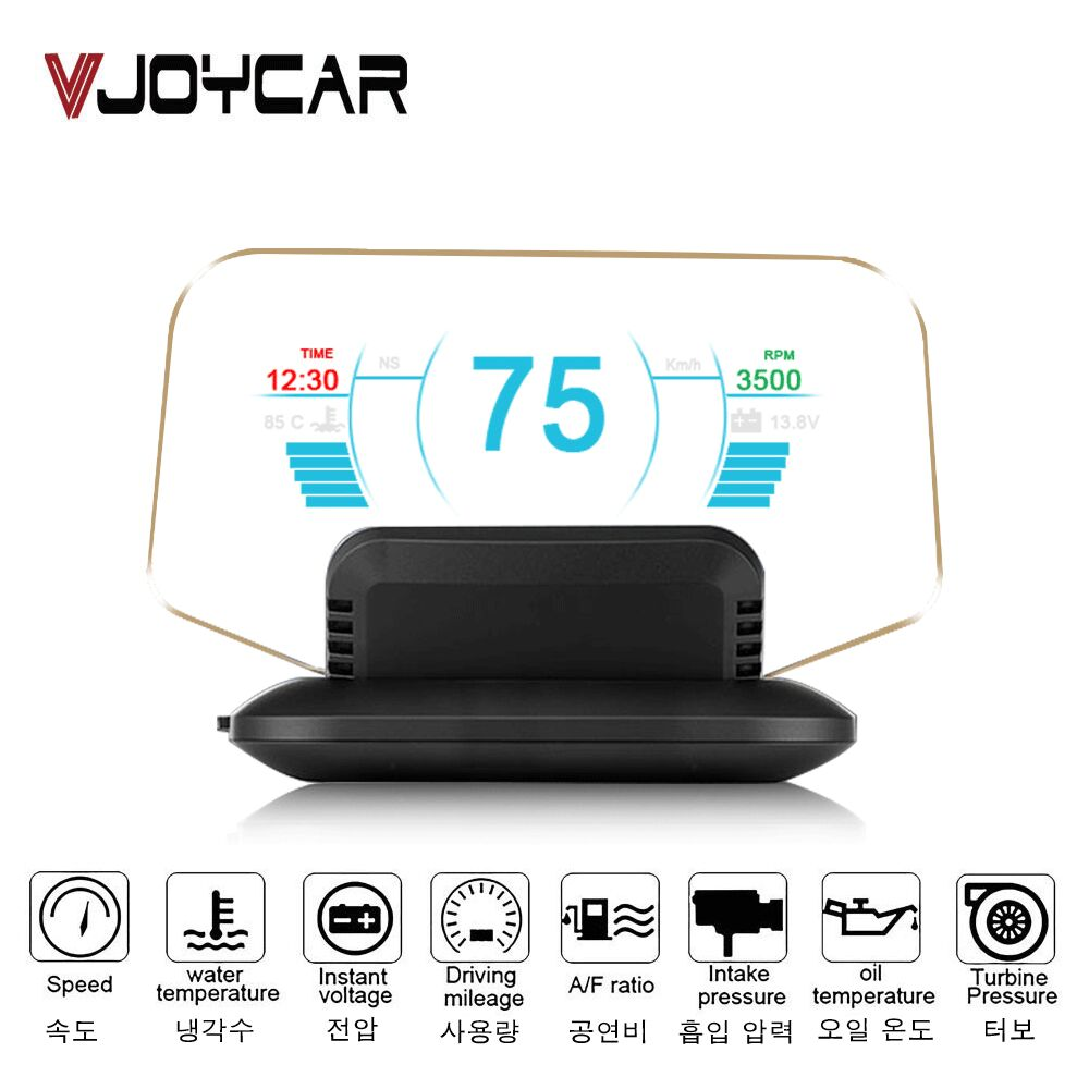 Vjoycar C1 HUD 2020 Nuovo OBD2 + GPS Dual Mode OBD2 Head Up Display GPS HUD Specchio Digitale MPH KMH tachimetro Water & Oil Temp RPM