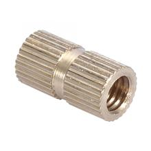 10pcs M6 Stainless Steel Square Nuts Brass Cylinder Knurled Round Molded-in Insert Embedded Small Size And Light Weight