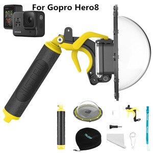 Image 3 - New Waterproof Accessories Diving Hood Dome+Handheld Monopod Bobber Floating Mount for Gopro Hero 9 8 Hero7 6 5  Camera Mounts