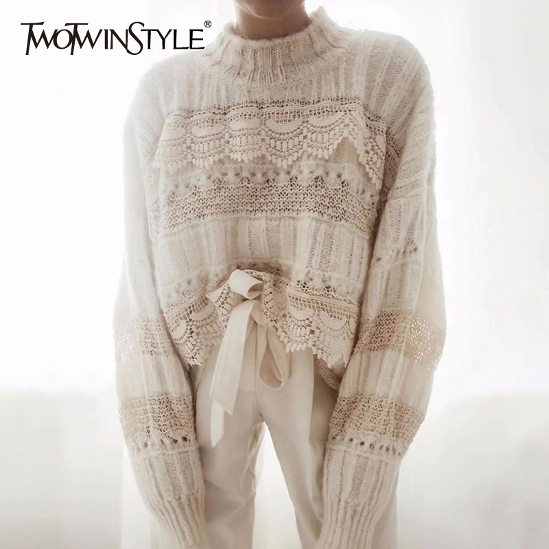 TWOTWINSTYLE Casual Patchwork Lace Hollow Out Women's Sweaters O Neck Long Sleeve Sweater For Female 2019 Fashion Clothing Tide