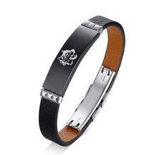 Bracelet en cuir Geruine noir pour hommes, bijoux en acier inoxydable, fermoir d'étiquette, loup Dragon, cadeau masculin