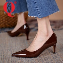 ZVQ Woman Pumps Heels Spring New Style Solid color Pointed Toe Genuine Leather Comfortable office lady Good Qualtiy Shoes
