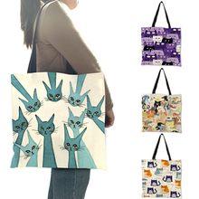 Senhoras meninas casual bolsa de moda portátil colorido dos desenhos animados bonito gato gatinho impressão design bolsa de ombro eco linho diário totes