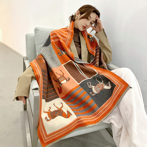 Image 4 - Animal Print Winter Cashmere Scarf Women 2020 New Thick Warm Shawls and Wraps Brand Designer Horse Printed Pashmina Blanket Cape
