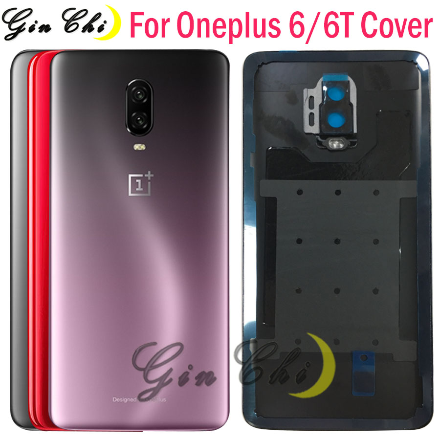 Original Glass For OnePlus 6T Back Battery Cover Door Rear Glass For Oneplus 6 Battery Cover 1+6T Housing Case with Camera Lens
