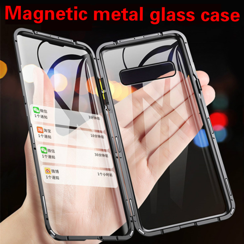 360 Double Sided Glass Case For Samsung Galaxy S10 Lite S10 Plus S8 S9 S20 A50 A70 A20 A51 A71 A40 A7 2018 Magnetic Metal Cover