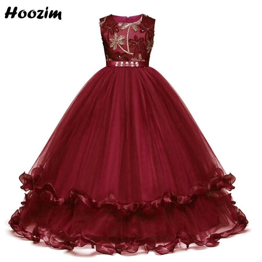 Burgundy Studded Belt Back Zipper Evening And Prom Dress Girls 7-15 Years Formal Dark Blue Embroidery Plant Wedding Dresses Teen