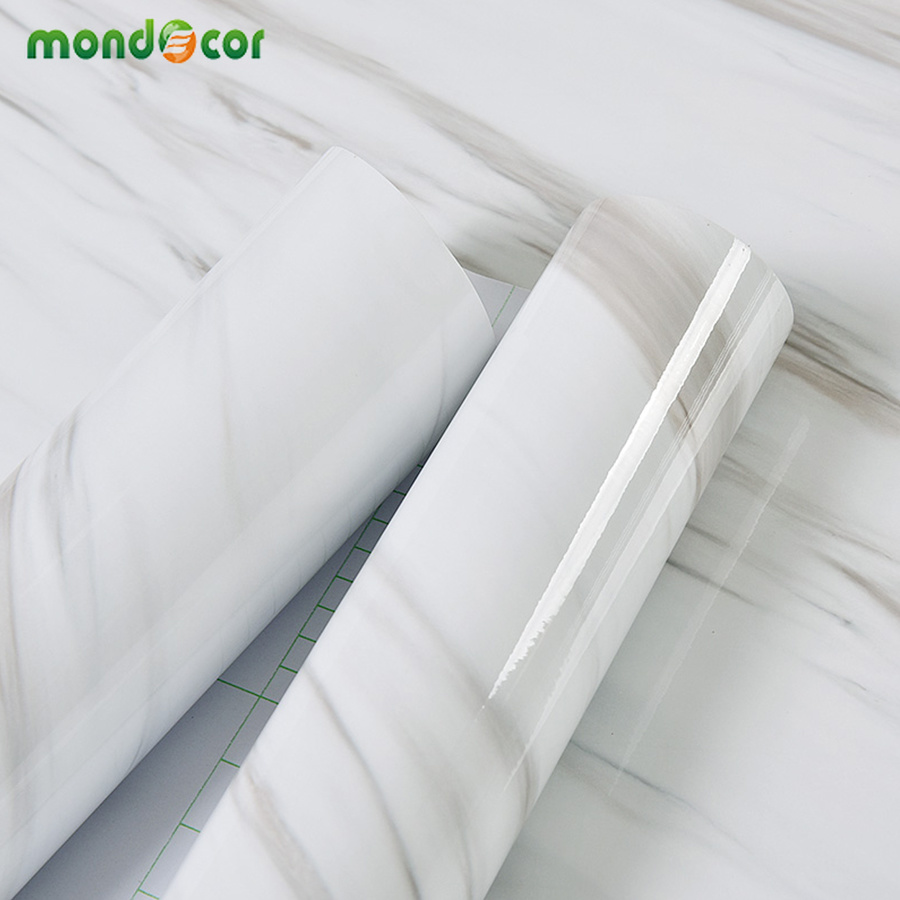PVC Marble Mural Self Adhesive Wallpaper Roll Bathroom Kitchen Countertops Contact Paper Waterproof Wall Paper Living Room Decor