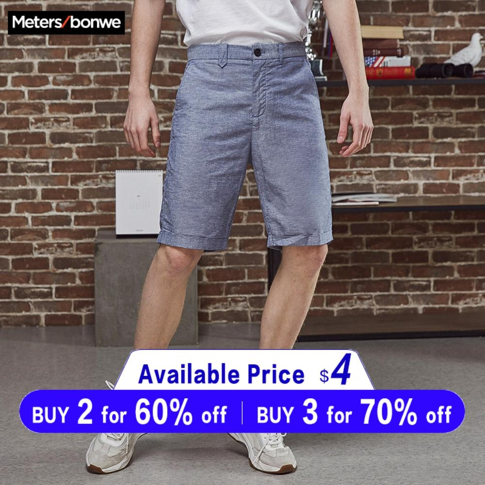 Metersbonwe Men's Summer Casual Short Pants Cotton Line Fashion Vintage Business Shorts Solid Color Breathable Plus Size