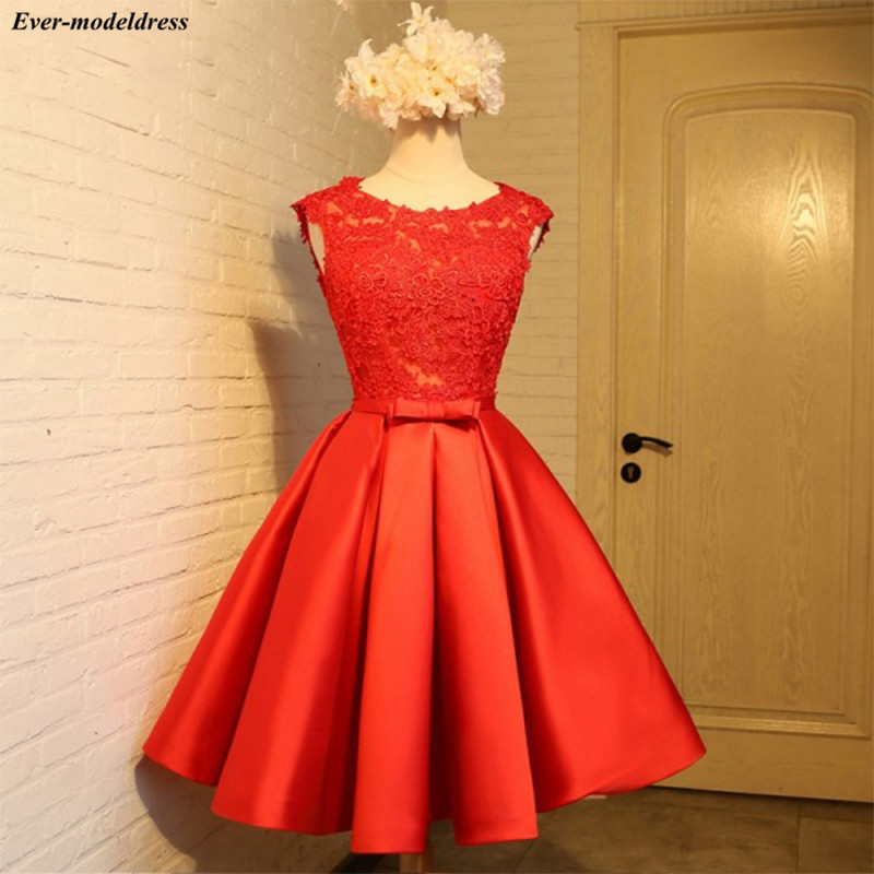 Red Short Homecoming Dress 2019 Plus Size Ball Gown Lace Applique Satin Junior Girls Prom Dress Homecoming Gown