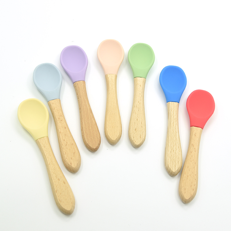 2PCS Baby Bamboo Training Spoons Organic Soft Baby Feeding Silicone Tip Spoon Scoop Easy Grip Handle Toddlers Infant Gifts