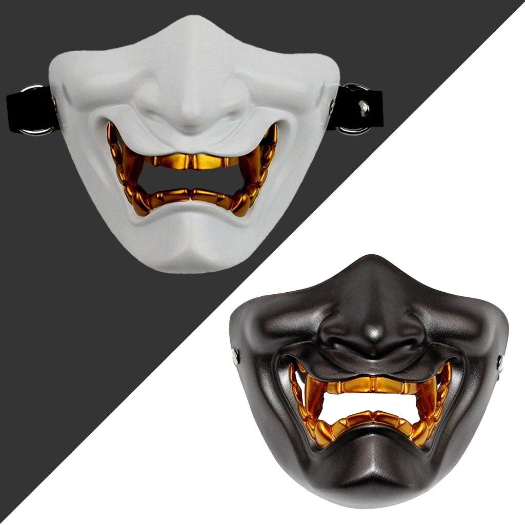 Half Face Mask Cosplay Kabuki Samurai Devil Tactical Halloween Party Festival