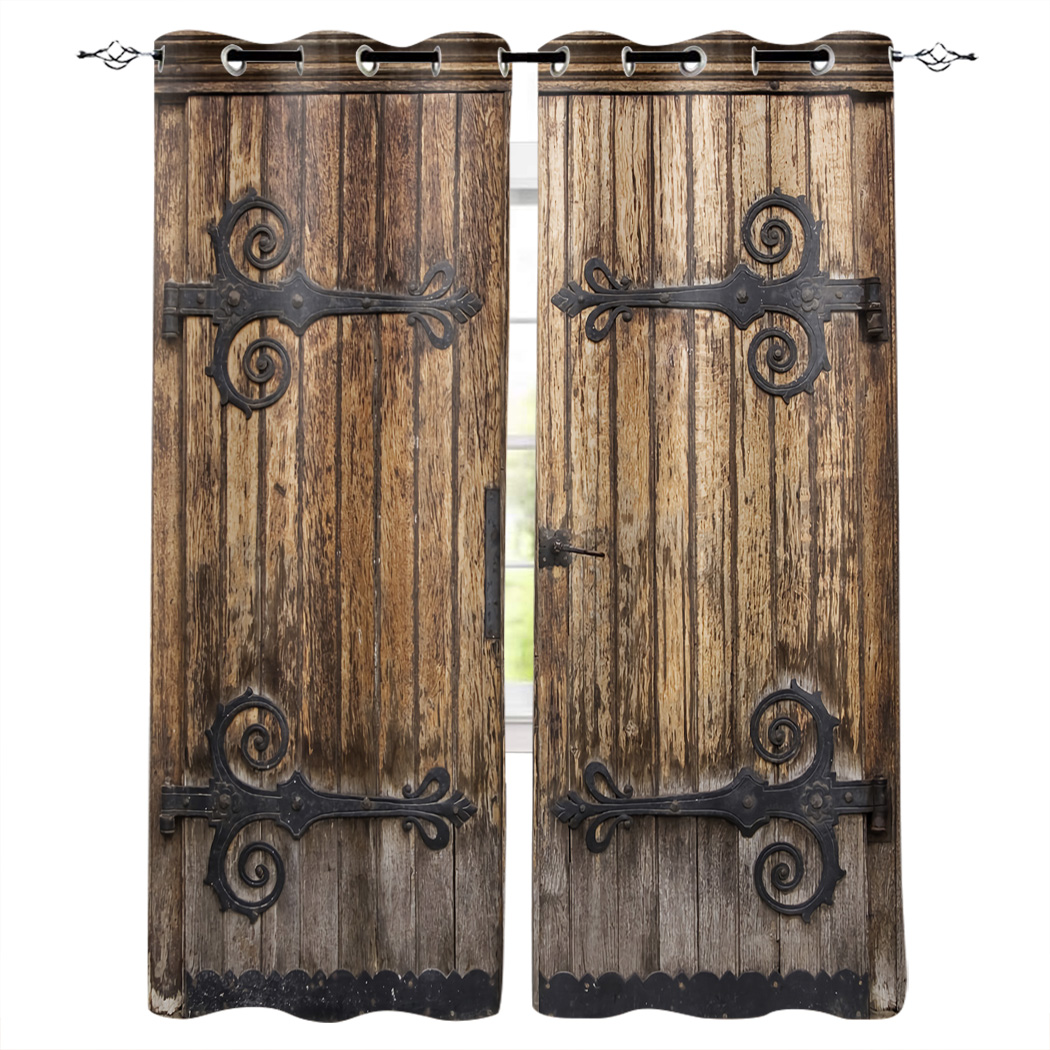 Vintage Farm Wood Door Rustic Modern Luxury Curtains Living Room Bathroom Kitchen Curtains Household Products