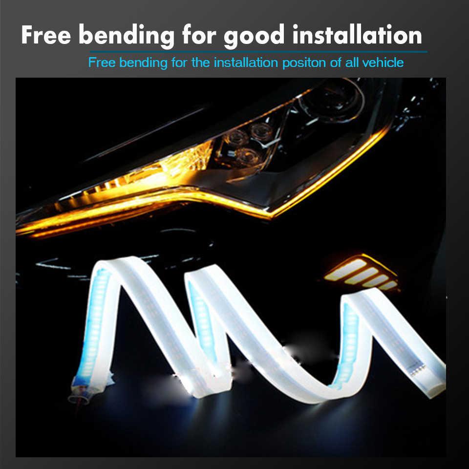 1 قطعة أحدث السيارات DRL LED النهار تشغيل أضواء السيارات Flowing بدوره إشارة دليل قطاع مجموعة مصابيح أمامية اكسسوارات السيارات التصميم