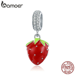 bamoer Red Enamel Strawberry Pendant Charm fit for Original Silver Bracelet or Necklace 925 Sterling Silver Jewelry SCC1537