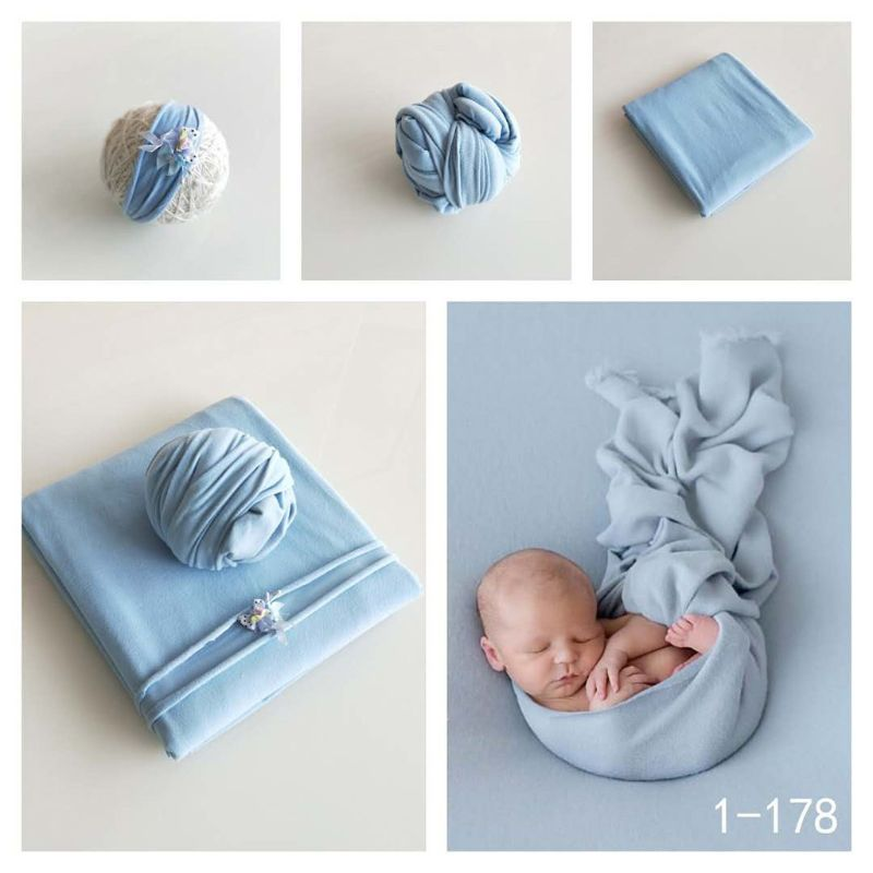 2 Pcs Set Newborn Baby Photography Props Elastic Baby Wraps Blanket+Hat Photo Shooting Accessories