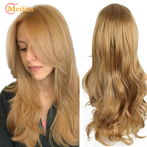 MEIFAN Long Brown Blonde Wavy Wig Synthetic Natural Hair Wigs for Women Heat Resistant Cosplay Party Female Daily False Hair