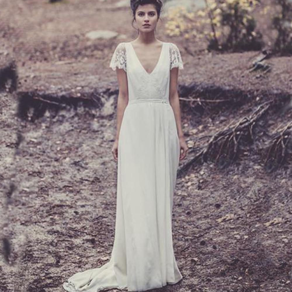 Custom Laure De Sagazan Bridal Gowns With Sleeve Lace Vintage Sexy Backless V Neck Bohemian Beach Wedding Dresses Boho 2019