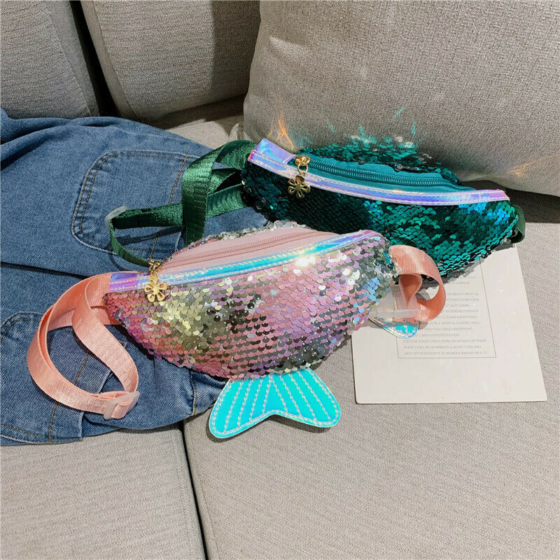 1pc Single Shoulder Kids Girls Fashion Sequin Waist Bags Chest Bag Mobile Coin Purse Handy Convenient Waist Packs Outdoor Bags