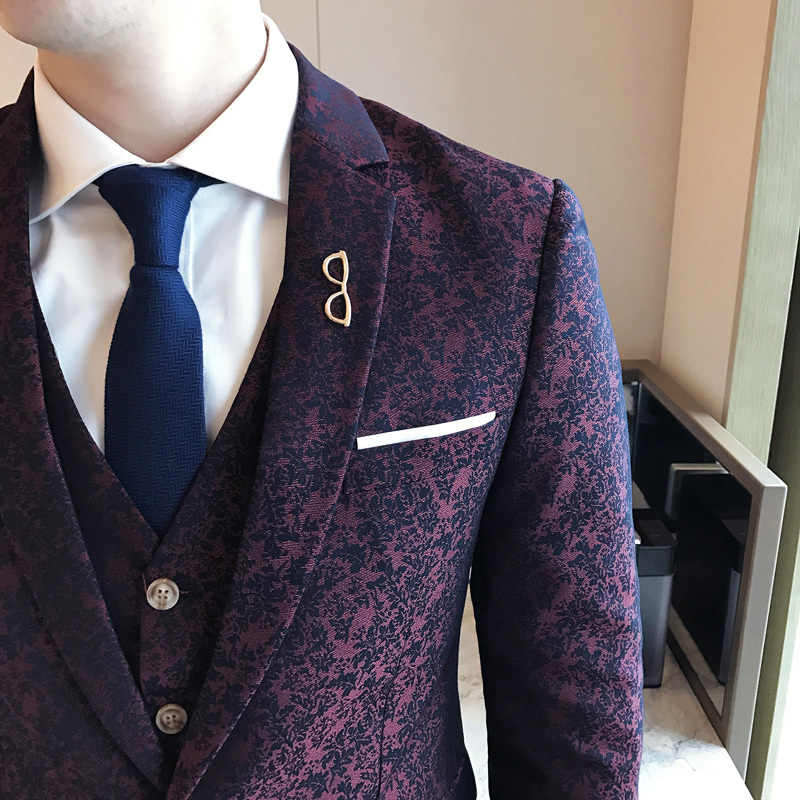 Wijn Rode Jacquard 3 Stuk Bruiloft Mannen Bruidegom Pak Kostuum Homme Slim Fit Fashion Vintage Party Prom (Jasje + Vest + Broek)