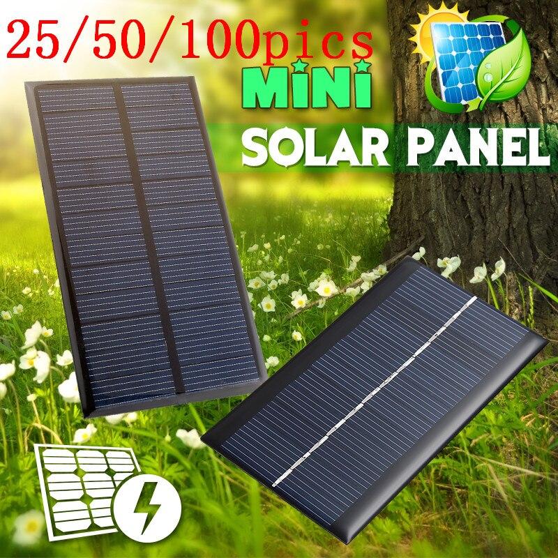 25/50/100PICS 6 в 1 Вт солнечная панель портативная Мини DIY модуль панельная система для батареи зарядные устройства для сотовых телефонов портативные панели солнечных батарей
