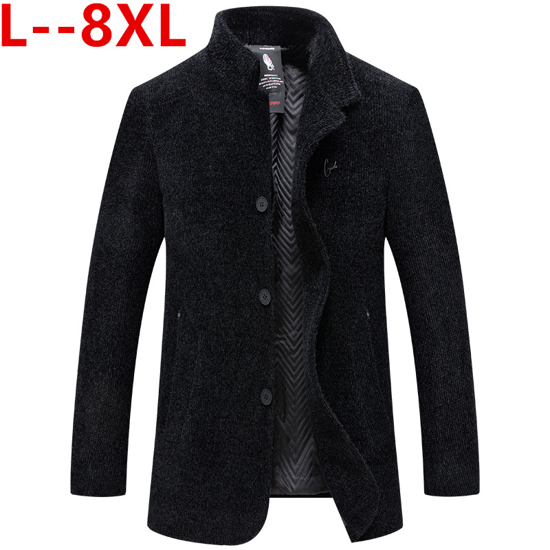 10XL 8XL 6XL 5XL Men's Wool Coat Winter Warm Solid Color Long Trench Jacket Male Single Breasted Business Casual Overcoat Parka