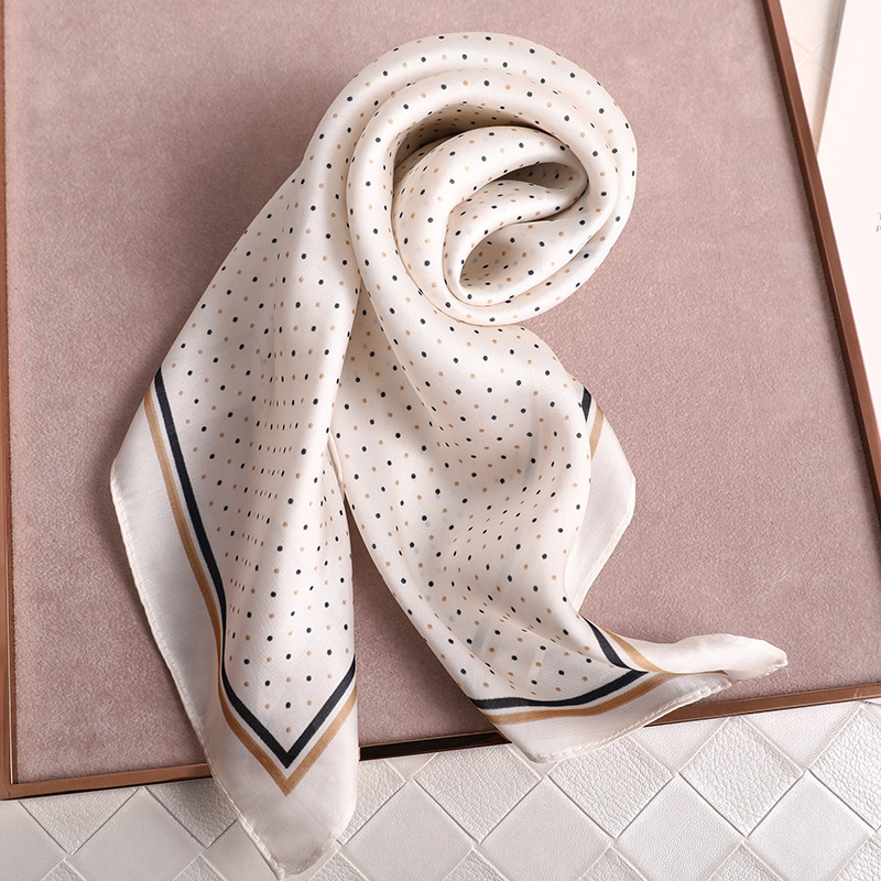 Dot Print Kerchief Silk Satin Hair Scarf For Women Small Shawls Fashion Hair Scarfs Female 70*70cm Square Bag Scarves For Ladies