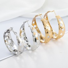 3 Color Personalized Female Hollow Star Hoop Earrings For Women Vintage Ethnic Big Circle Earring Gold Silver Rose