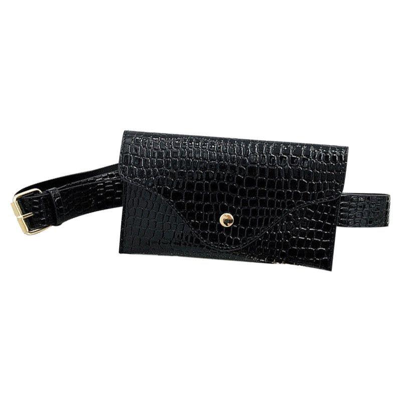 Belt Bag Women PU Leather Waist Pack Wallet Handbag Small Purse Phone Pouch(Black)